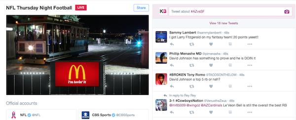 McDonalds Advertising on Twitter NFL Live Stream